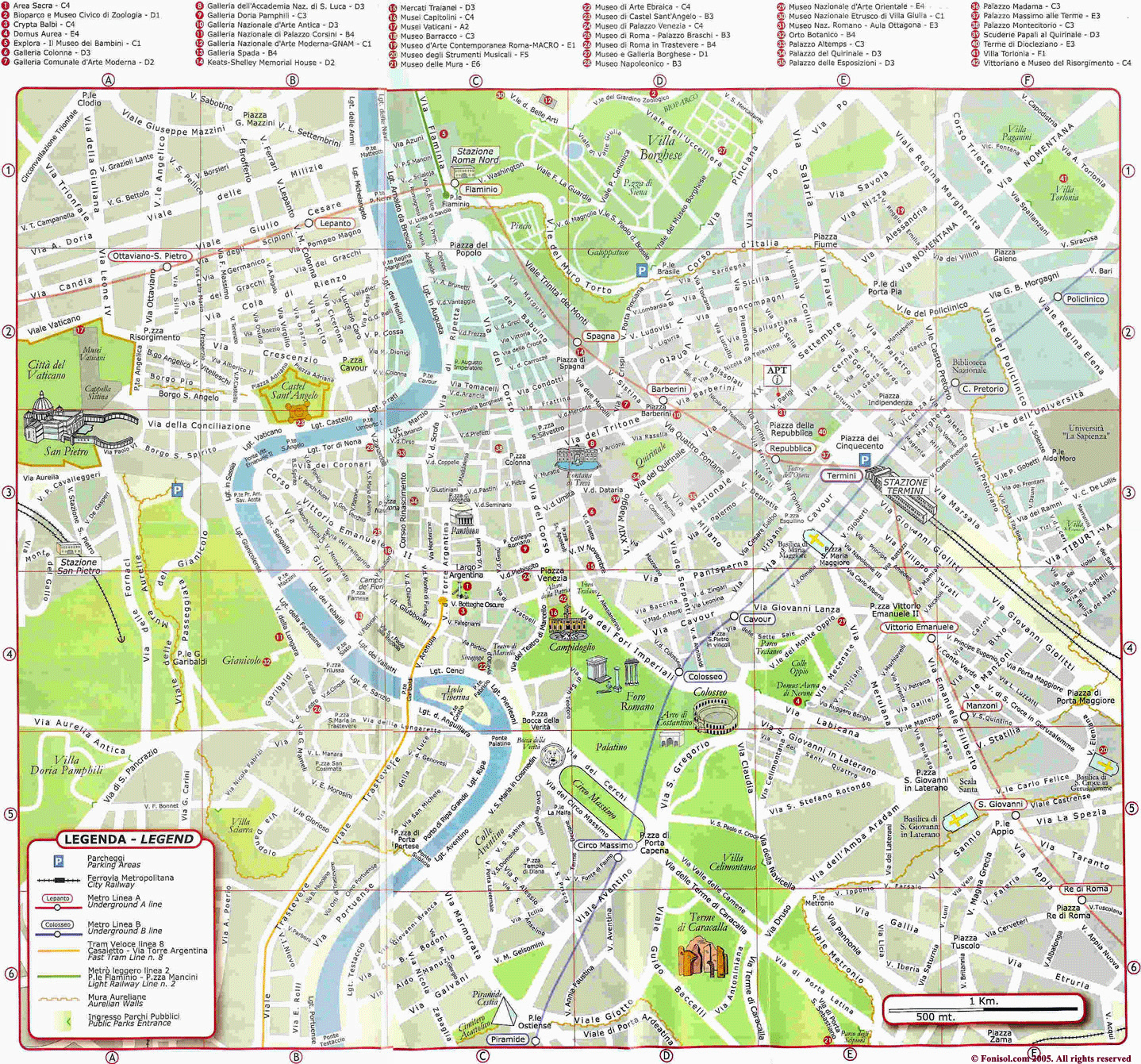 Large Detailed Map Of Rome City Rome City Large Detailed