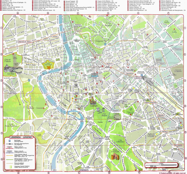 Large detailed map of Rome city.