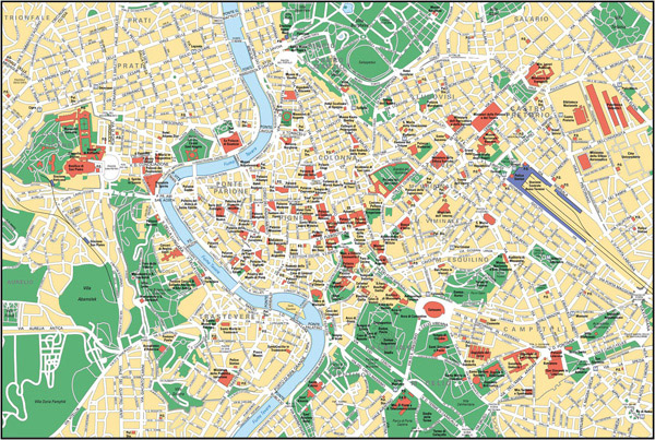 Large detailed street map of Rome city center.
