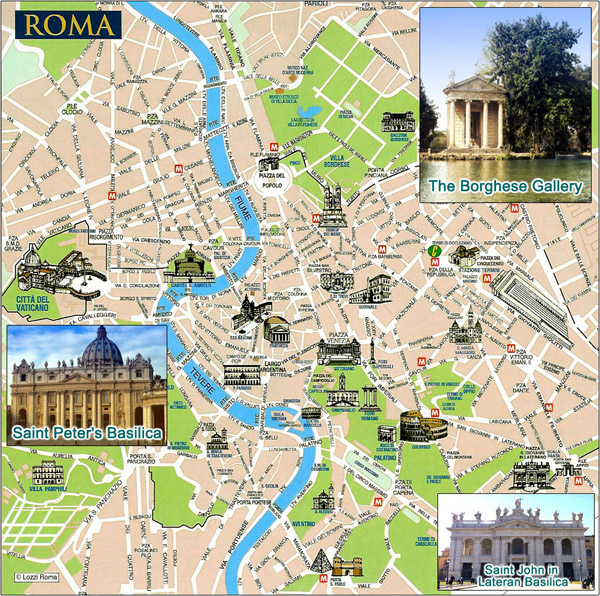 Large detailed tourist map of Rome city.