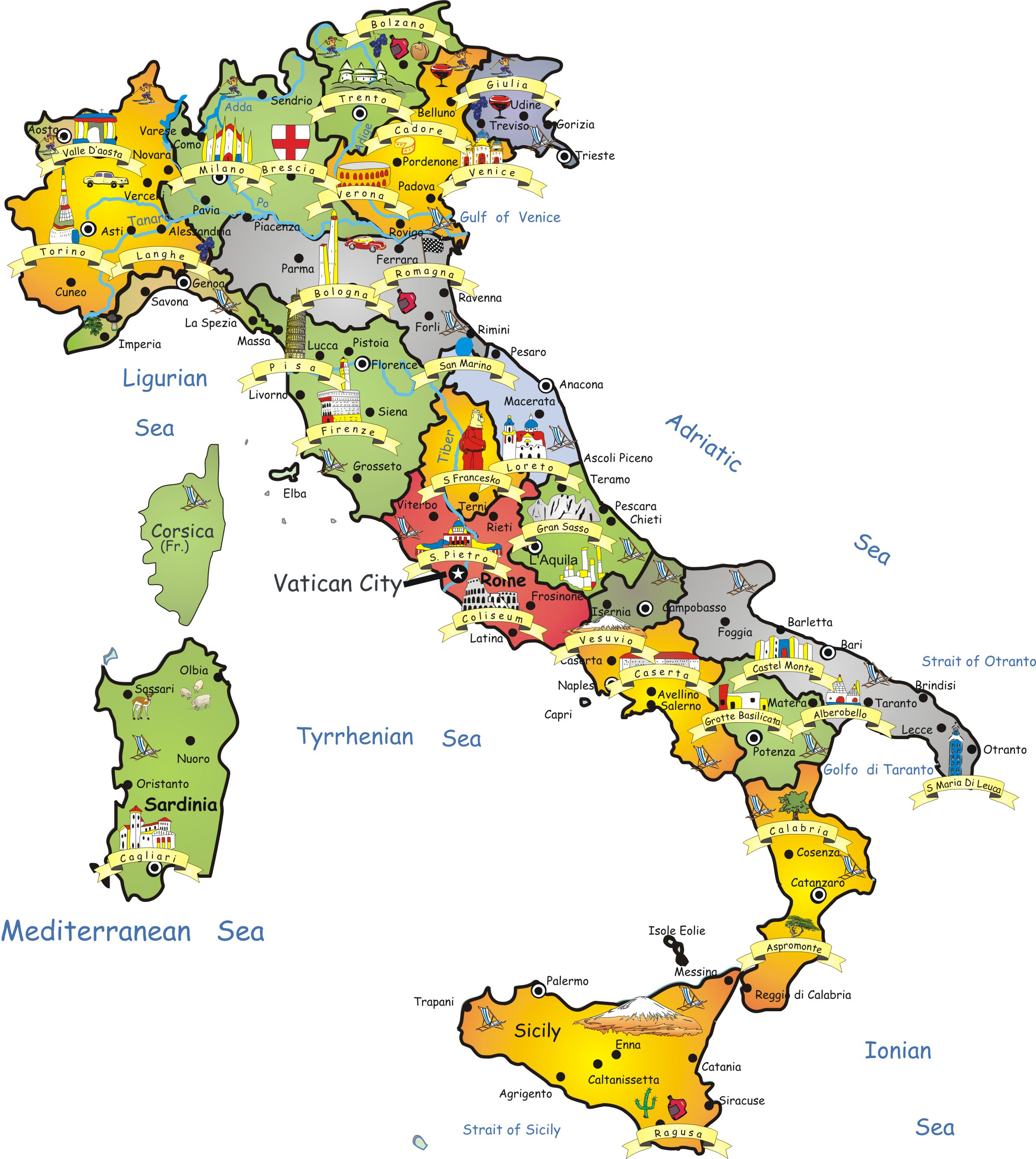 Map Of Cities Italy.Travel Map Of Italy Italy Travel Map Vidiani Com Maps Of All