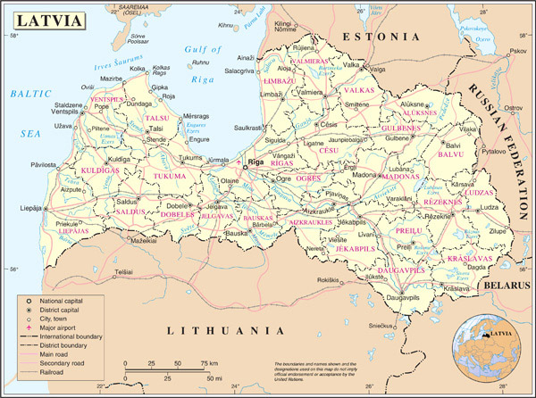 Detailed large political map of Latvia.