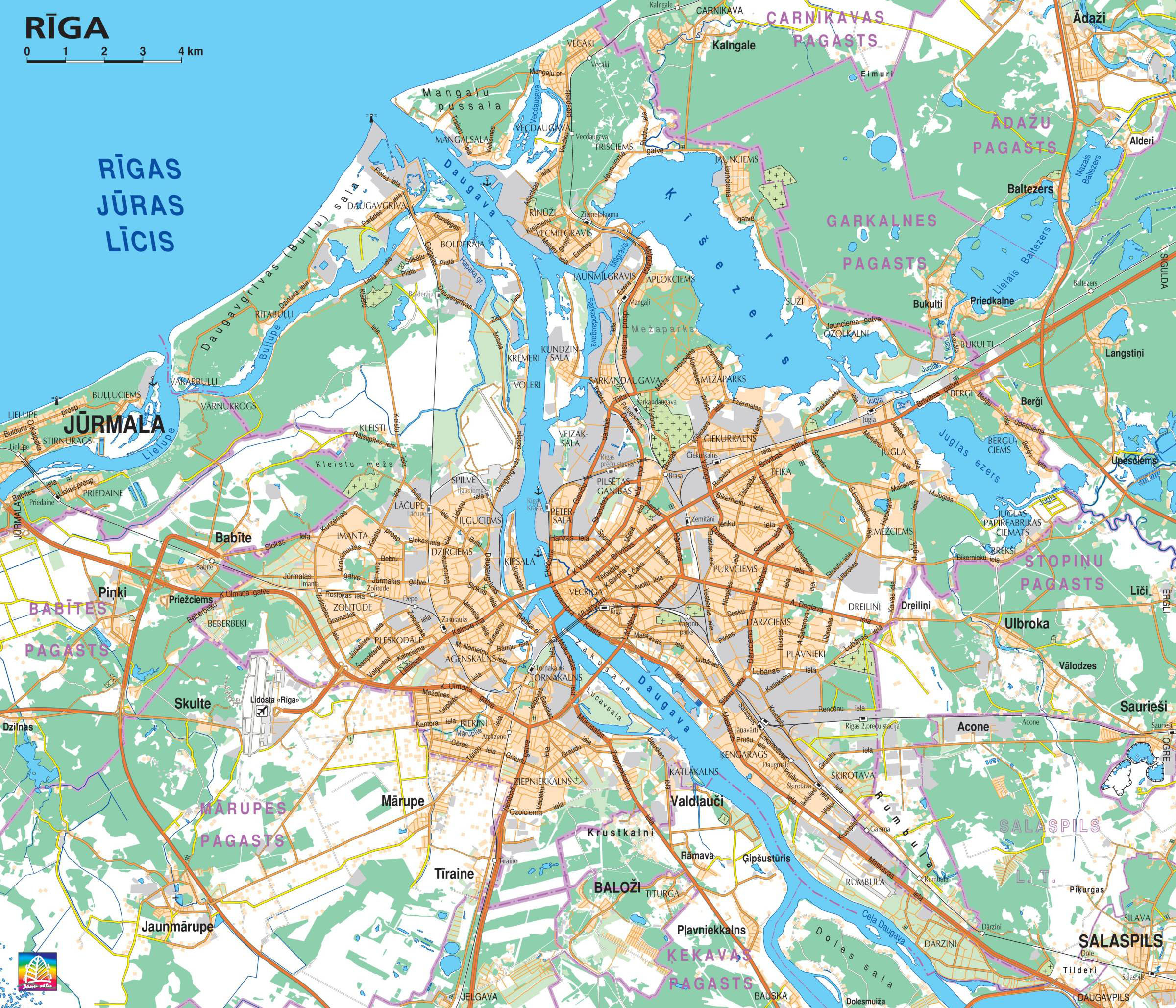 Detailed road map of Riga Riga detailed road map Vidianicom