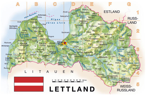 Detailed topographical map of Latvia.