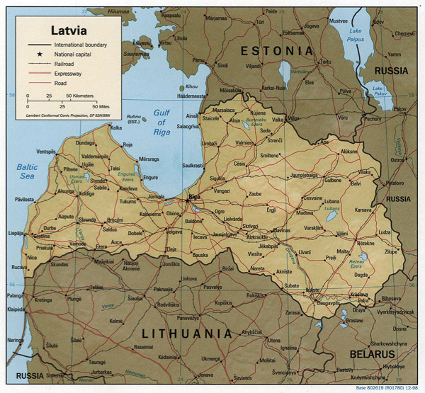 International corridors map of Latvia.