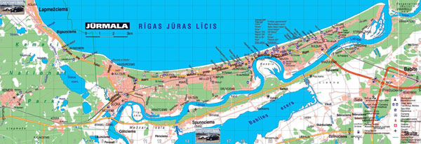 Detailed roads map of Jurmala with hotels.