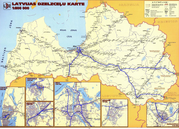 Large detailed railroads map of Latvia.