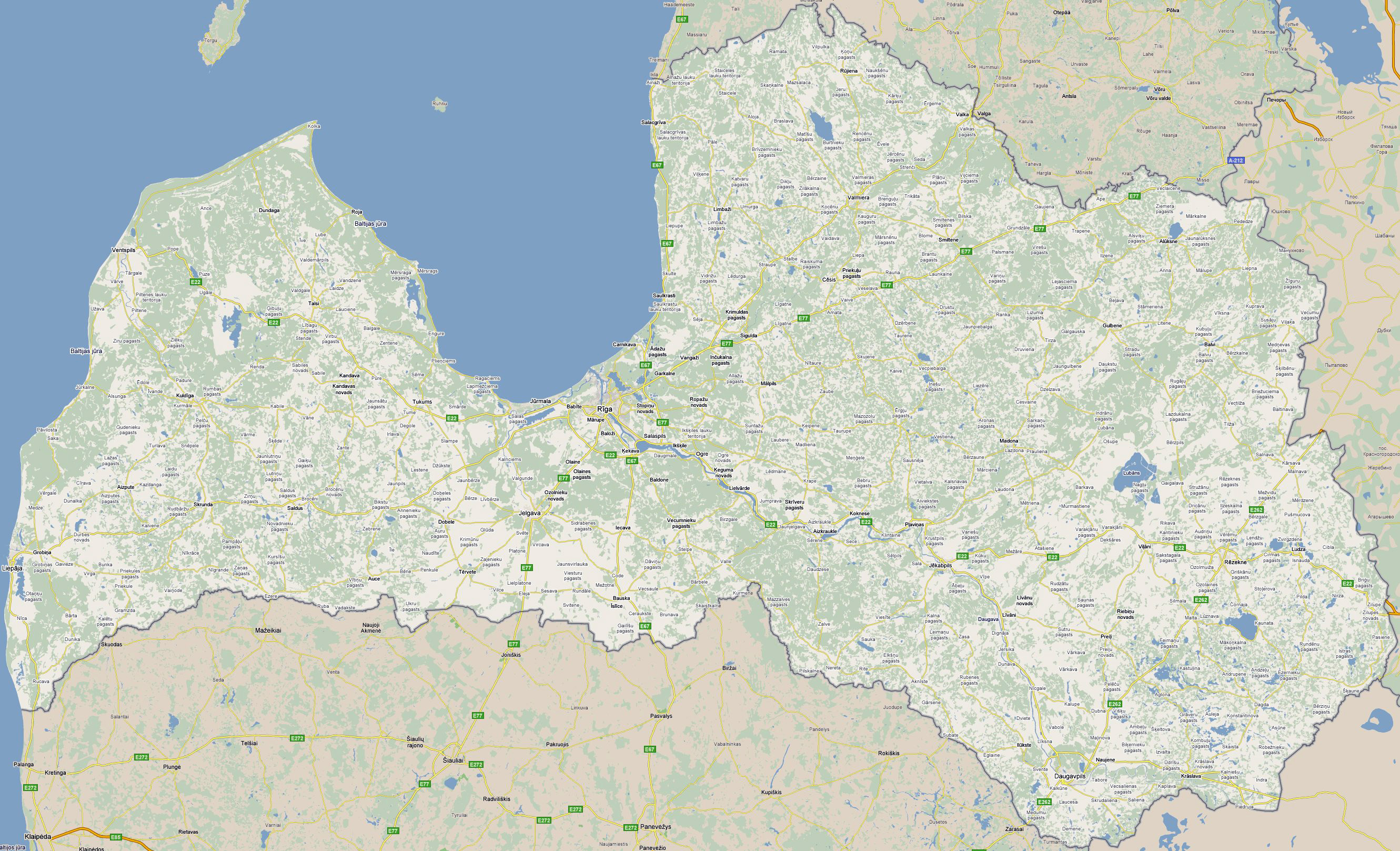 Large detailed roads map of Latvia with cities Latvia large