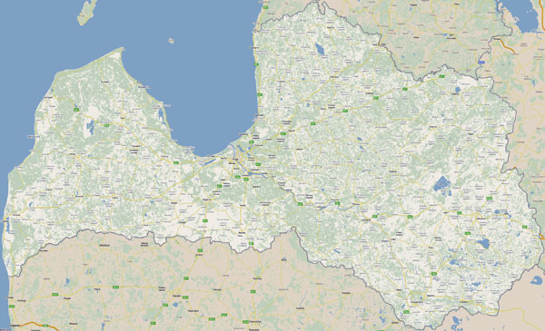 Large detailed roads map of Latvia with cities.