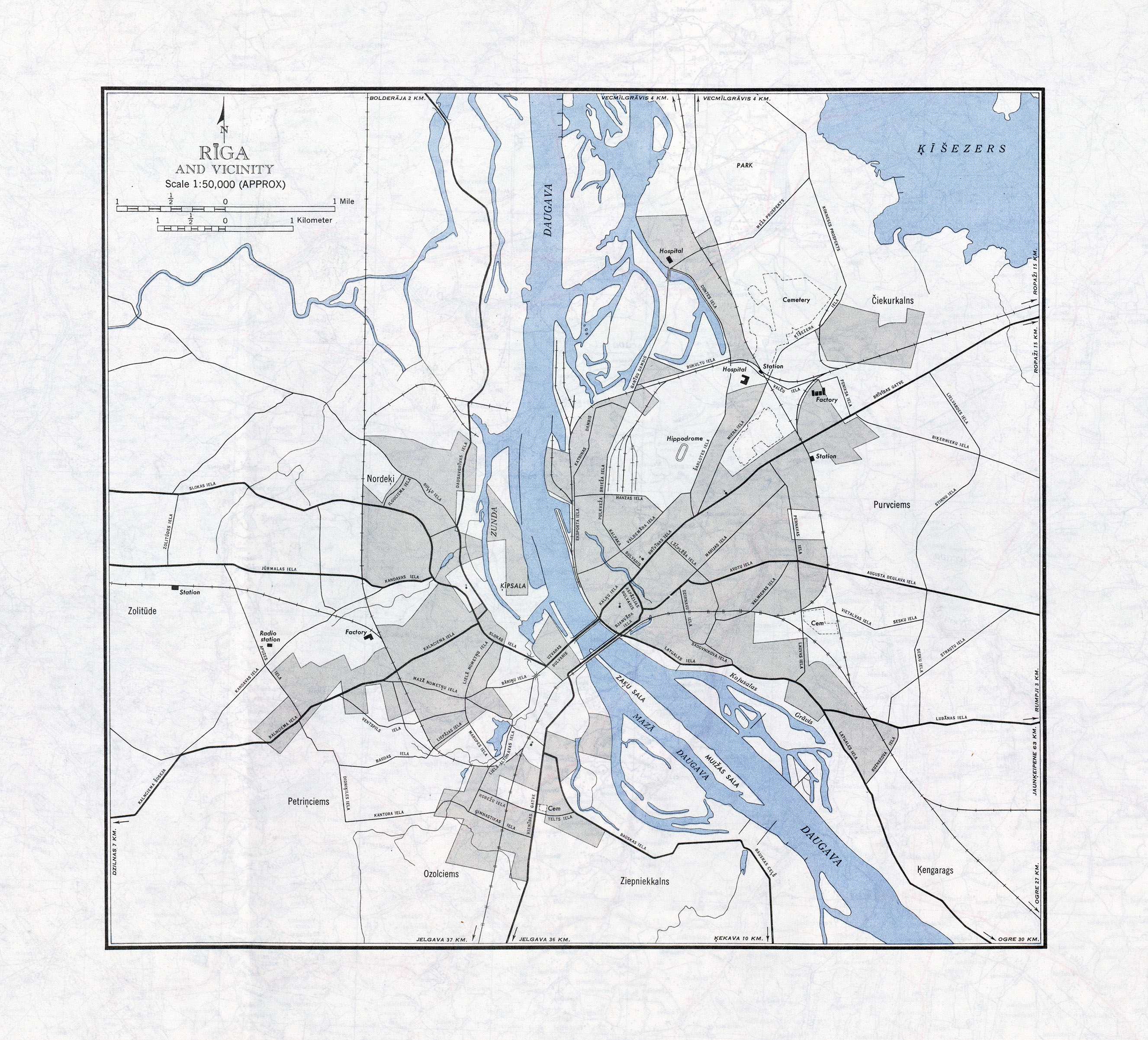 Large map of Riga and vicinity Riga and vicinity large map