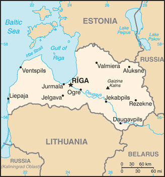 Small map of Latvia. Latvia small map.