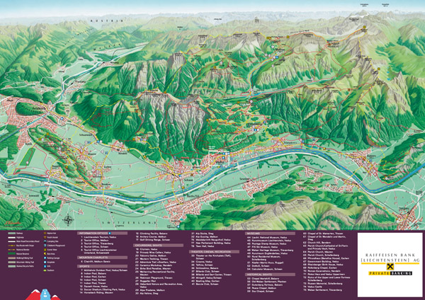 Large detailed tourist map of Liechtenstein. Liechtenstein large detailed tourist map.
