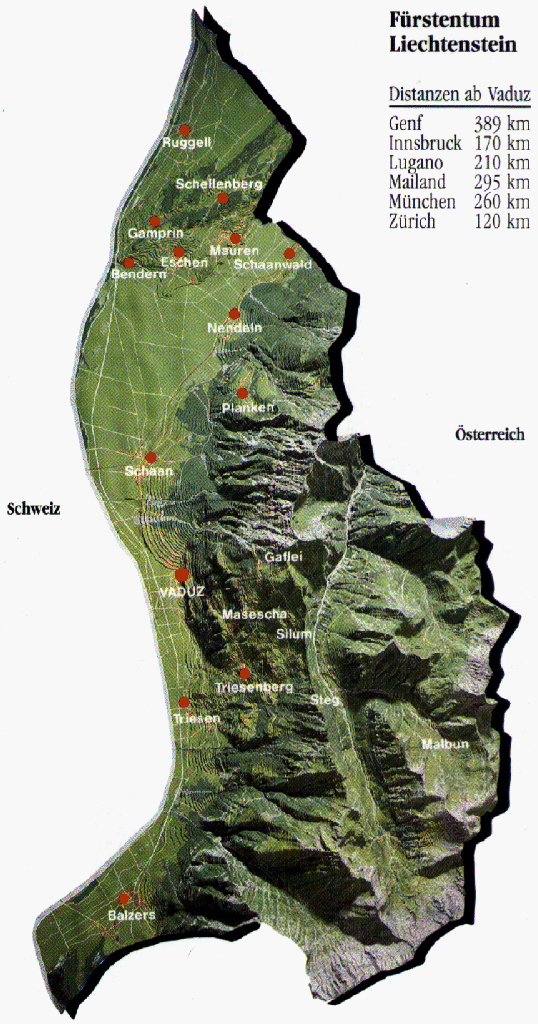 Relief map of Liechtenstein. Liechtenstein relief map.