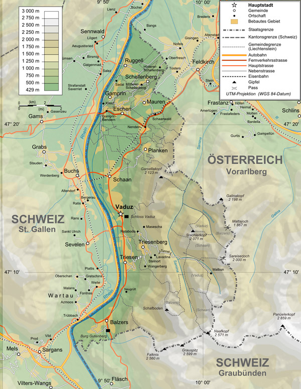 Topographical map of Liechtenstein. Liechtenstein topographical map.
