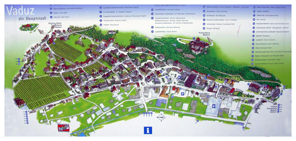 Detailed tourist illustrated map of Vaduz city.