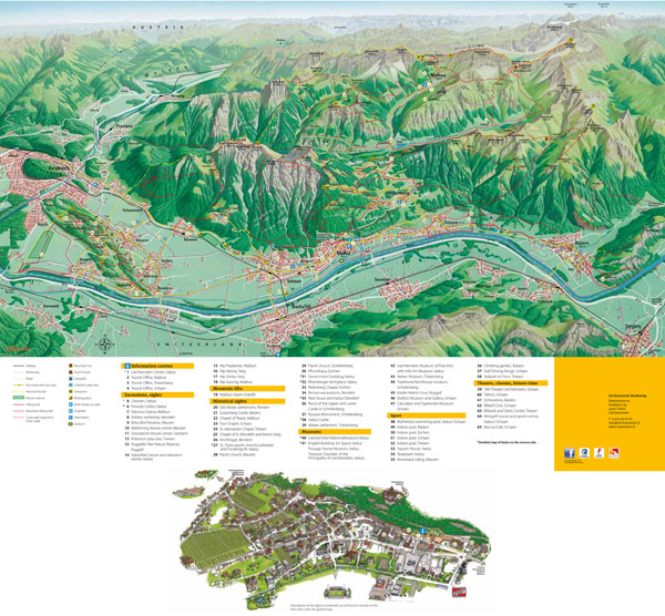 Large detailed tourist guide map of Vaduz city, Liechtenstein.
