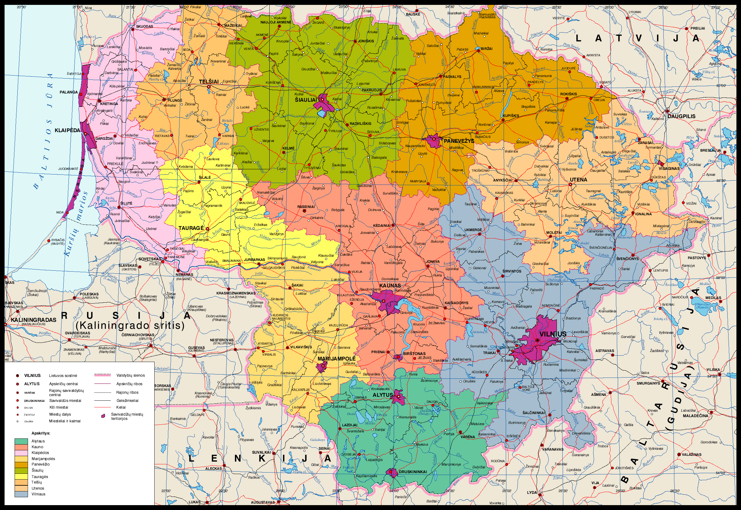 Detailed administrative map of Lithuania Lithuania detailed