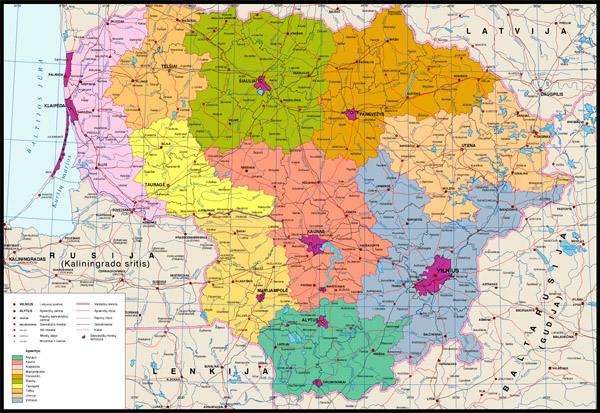 Detailed administrative map of Lithuania.
