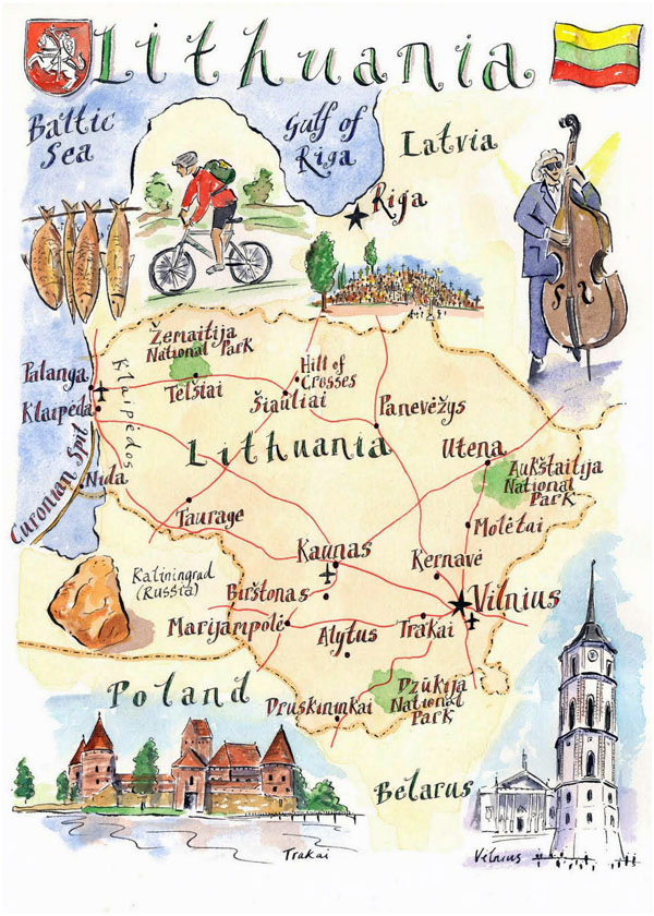 Detailed illustrated map of Lithuania.