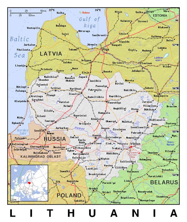 Detailed political map of Lithuania.