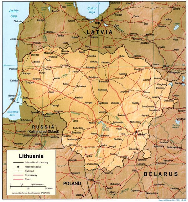 Iternational corridors map of Lithuania.
