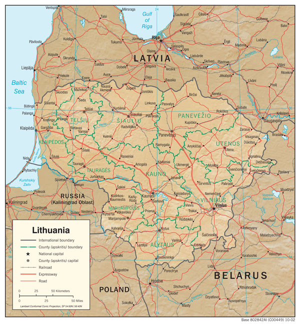 Large detailed political and administrative map of Lithuania with relief, roads and cities.