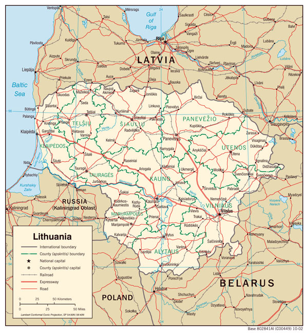 Large detailed political and administrative map of Lithuania with roads and cities.