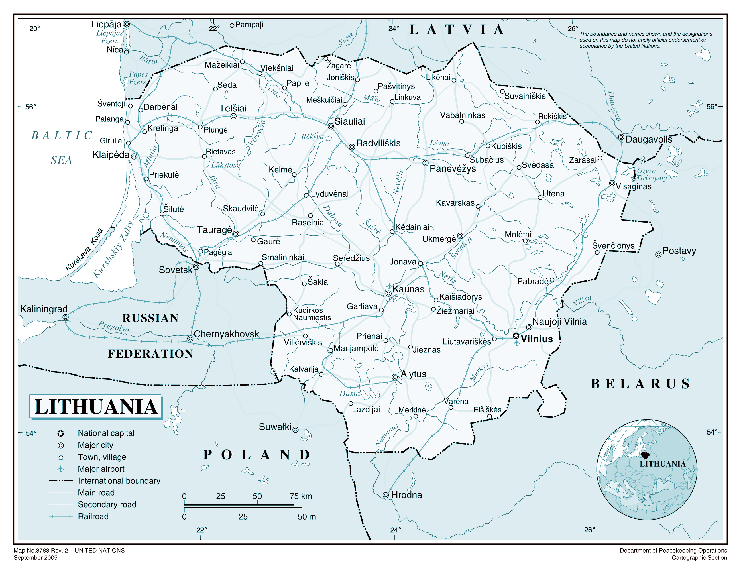 Large detailed political map of Lithuania Lithuania large detailed