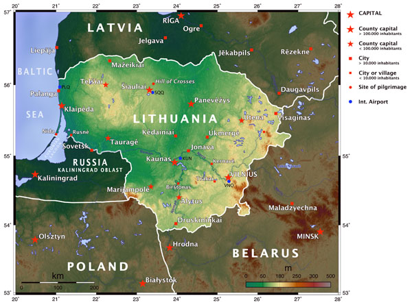 Large detailed topographical map of Lithuania.