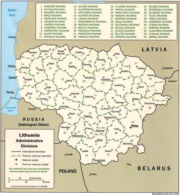 Political map of Lithuania. Lithuania political map.
