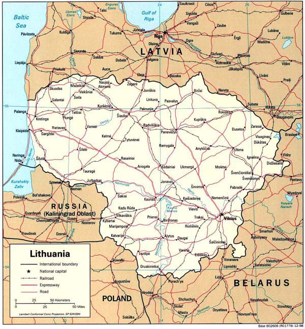 Road map of Lithuania. Lithuania road map.