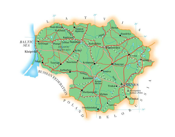 Small road map of Lithuania. Lithuania small road map.