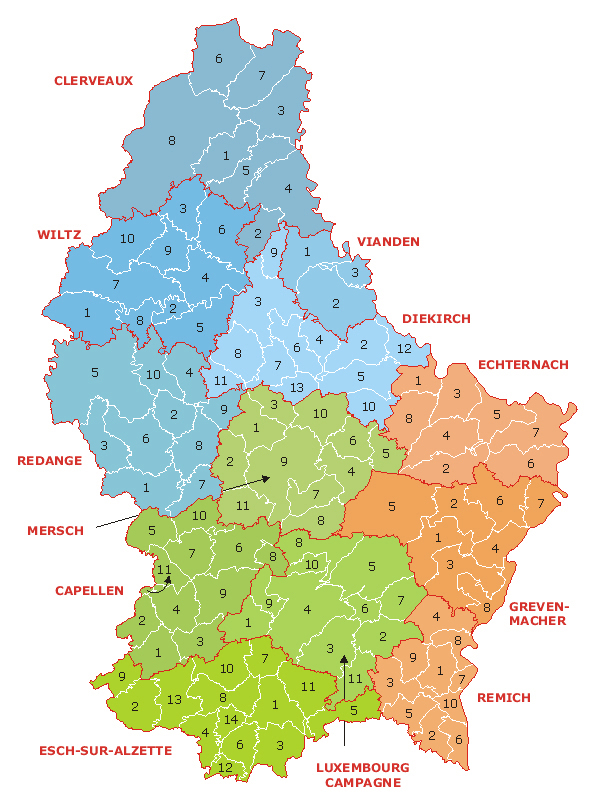 Detailed administrative map of Luxembourg.