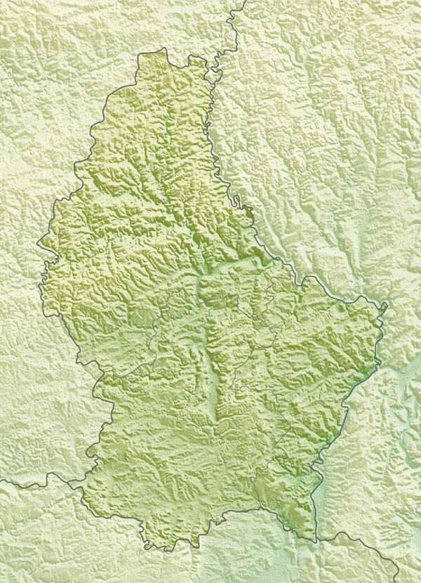 Large detailed relief map of Luxembourg. Luxembourg large detailed relief map.