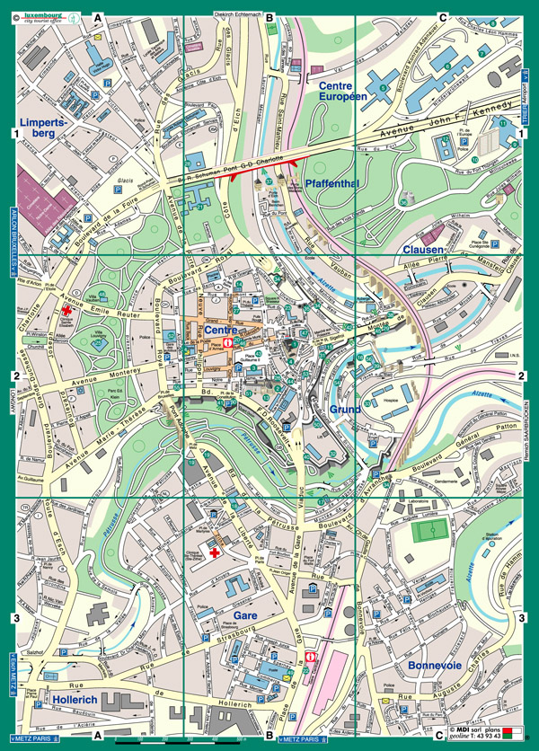 Large detailed tourist map of Luxembourg city center.