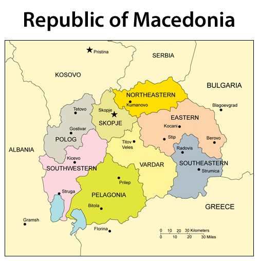 Detailed administrative map of Macedonia.