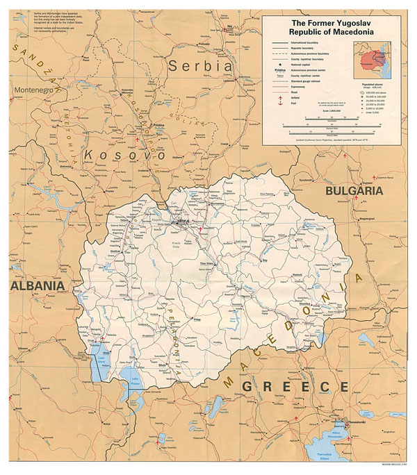Large detailed political map of Macedonia with roads, cities and airports - 1994.