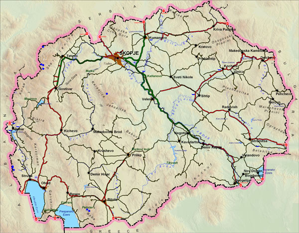 Large detailed road map of Macedonia with relief.