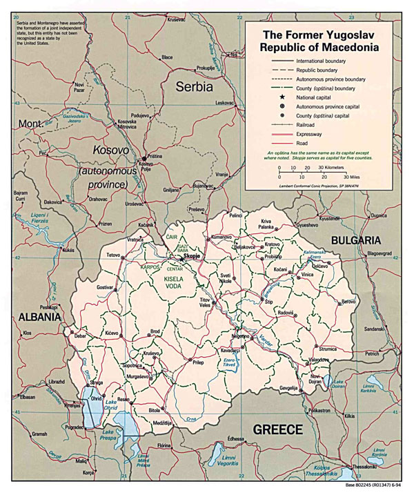 Large political and administrative map of Macedonia with roads and major cities - 1994.