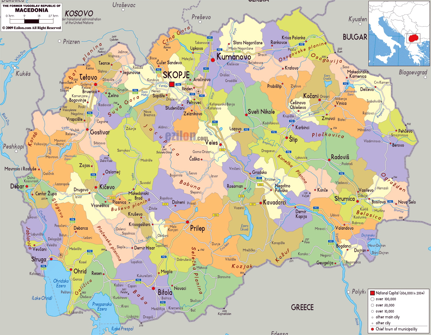 Large political and administrative map of macedonia with roads large political and administrative map of macedonia with roads cities and airports publicscrutiny Choice Image