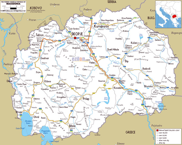 Large road map of Macedonia with cities and airports.