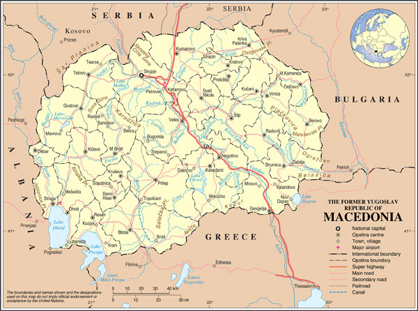 Political map of Macedonia. Macedonia political map.