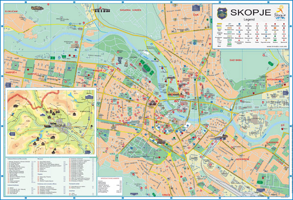 Large detailed tourist map of Skopje city. Skopje large detailed tourist map.