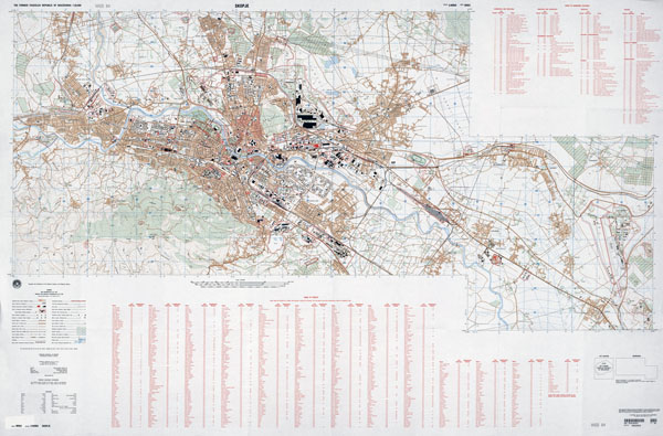 Large scale detailed topographical map Skopje city with roads and buildings.