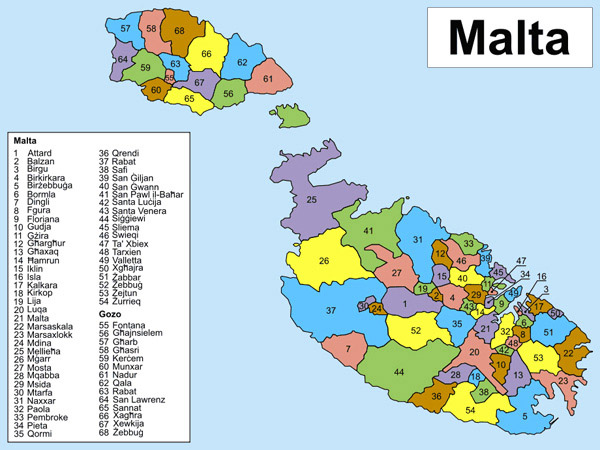 Detailed administrative map of Malta. Malta detailed administrative map.