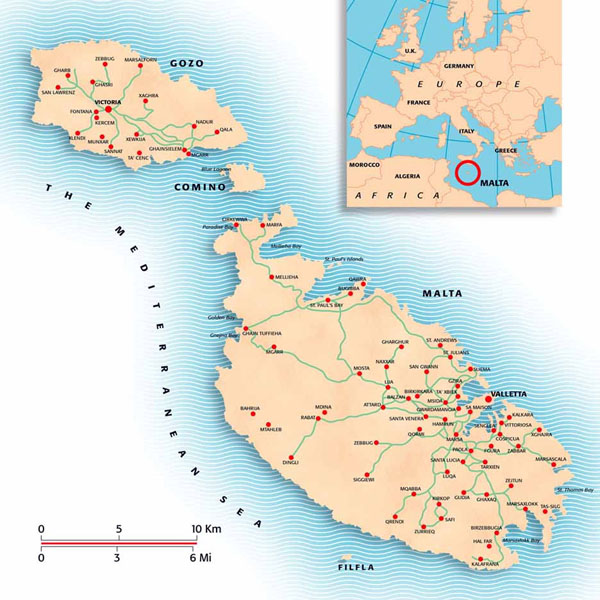 Detailed map of Malta with cities.