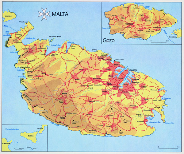 Large detailed elevation map of Malta.
