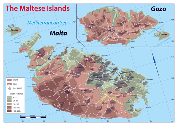 Large detailed physical map of Malta.