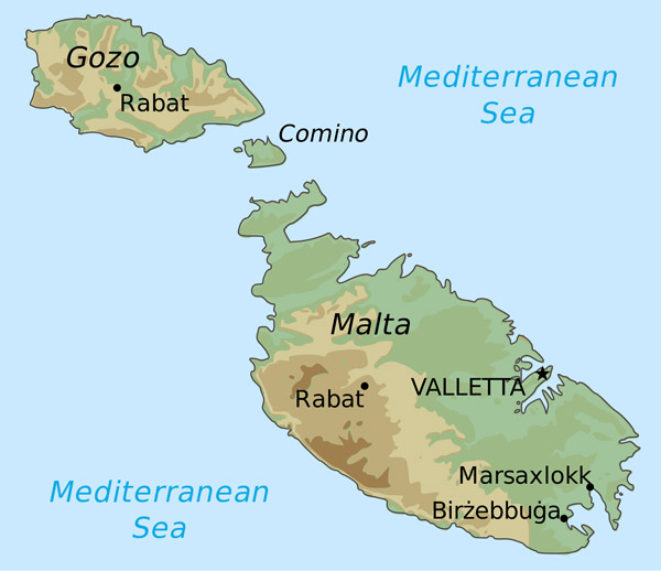 Malta large elevation map. Large elevation map of Malta.