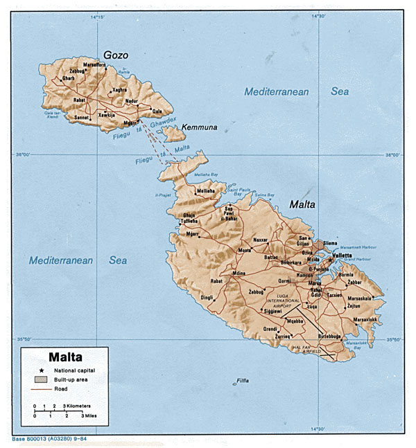 Large political map of Malta with relief, roads and cities - 1984.